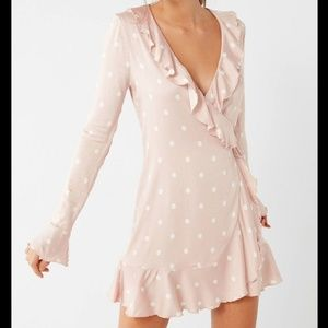 Urban Outfitters Long Sleeve Ruffle Wrap Dress XS